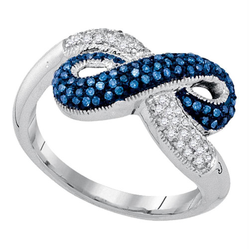10kt White Gold Womens Round Blue Color Enhanced Diamond Infinity Ring 1/3 Cttw