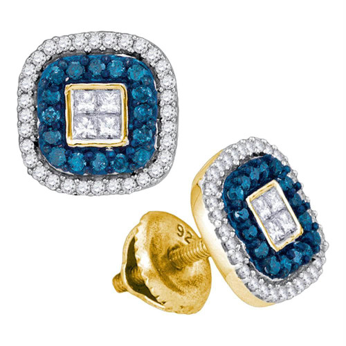 10kt Yellow Gold Womens Round Blue Color Enhanced Diamond Square Frame Cluster Earrings 1/2 Cttw