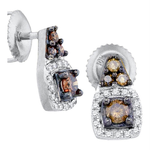 10kt White Gold Womens Round Cognac-brown Color Enhanced Diamond Solitaire Screwback Earrings 3/8 Cttw