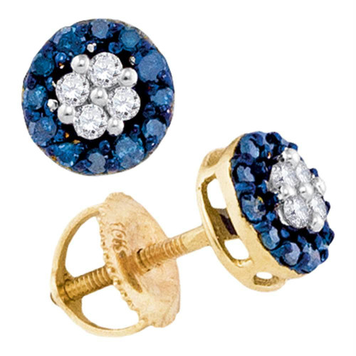 10k Yellow Gold Blue Color Enhanced Round Cluster Diamond Womens Screwback Stud Earrings 1/3 Cttw