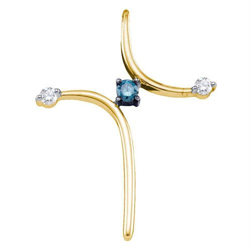 10k Yellow Gold Blue Color Enhanced Diamond Womens Christian Cross Spiritual Pendant 1/4 Cttw