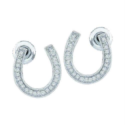 10k White Gold Diamond Womens Horseshoe Lucky Screwback Stud Earrings 1/6 Cttw