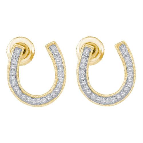 10kt Yellow Gold Womens Round Diamond Horseshoe Screwback Stud Earrings 1/6 Cttw