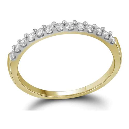 14kt Yellow Gold Womens Round Diamond Slender Wedding Anniversary Band 1/4 Cttw