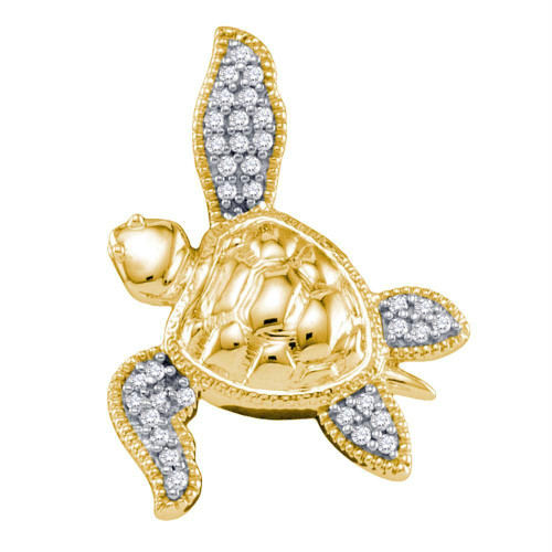 10k Yellow Gold Diamond Womens Sea Turtle Tortoise Animal Shell Pendant 1/10 Cttw