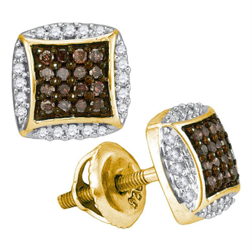 10kt Yellow Gold Womens Round Cognac-brown Color Enhanced Diamond Square Cluster Earrings 1/3 Cttw - 89122