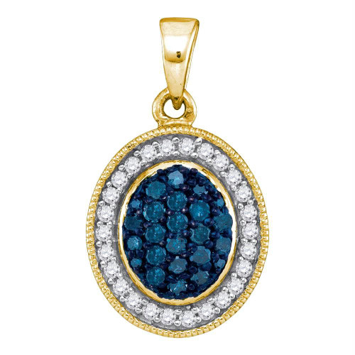 10kt Yellow Gold Womens Round Blue Color Enhanced Diamond Oval Frame Cluster Pendant 1/3 Cttw