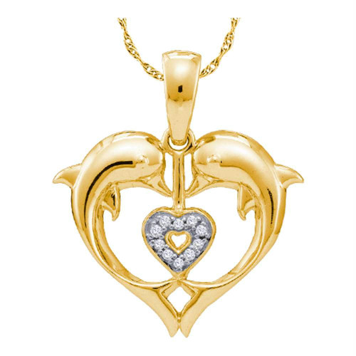 10kt Yellow Gold Womens Round Diamond Double Dolphin Heart Pendant .03 Cttw