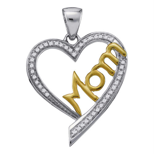 10kt Two-tone Gold Womens Round Diamond Heart Love Mom Mother Pendant 1/8 Cttw