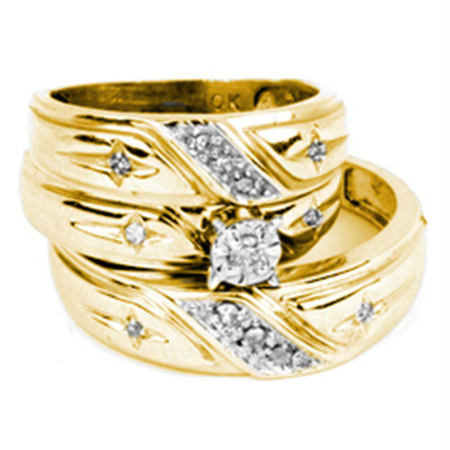 14kt Yellow Gold His & Hers Round Diamond Solitaire Matching Bridal Wedding Ring Band Set 1/6 Cttw