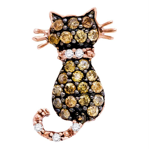 10k Rose Gold Cognac-brown Color Enhanced Diamond Womens Kitty Cat Feline Pendant 1/3 Cttw