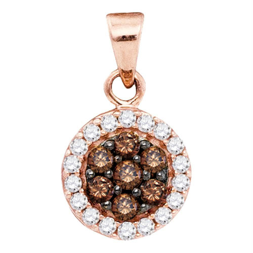 10kt Rose Gold Womens Round Cognac-brown Color Enhanced Diamond Flower Cluster Pendant 3/8 Cttw