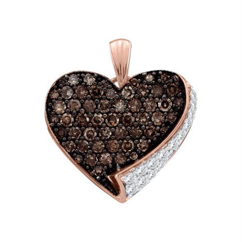 10kt Rose Gold Womens Round Cognac-brown Color Enhanced Diamond Heart Love Pendant 7/8 Cttw
