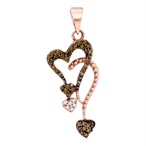 10kt Rose Gold Womens Round Red Color Enhanced Diamond Cluster Heart Droplet Pendant 1/5 Cttw