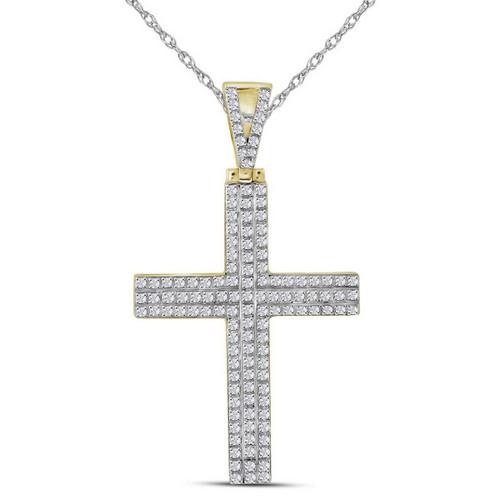 10kt Yellow Gold Mens Round Diamond Cross Religious Charm Pendant 1/3 Cttw