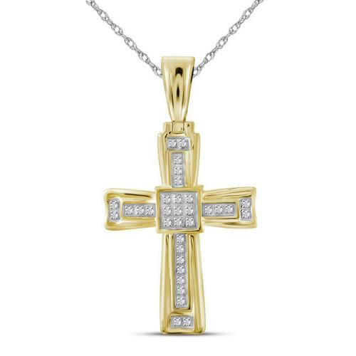 10kt Yellow Gold Mens Round Diamond Cross Religious Charm Pendant 1/10 Cttw