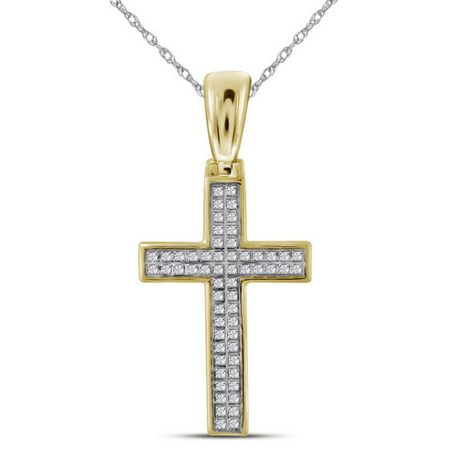 10kt Yellow Gold Mens Round Diamond Small Cross Religious Charm Pendant 1/6 Cttw