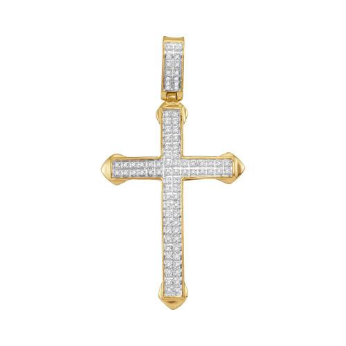 10kt Yellow Gold Mens Round Diamond Christian Cross Charm Pendant 1/4 Cttw - 112975