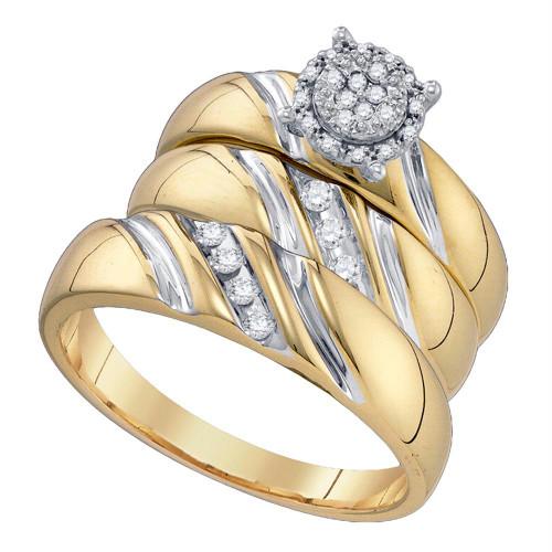 10k Yellow Gold Round Diamond His & Hers Matching Trio Wedding Bridal Engagement Ring Band Set 1/5 Cttw
