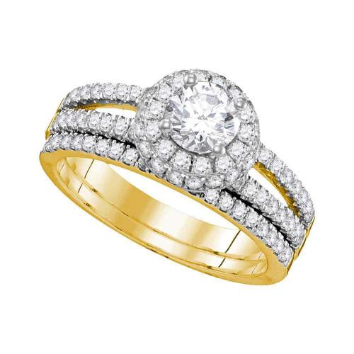 14kt Yellow Gold Womens Round Diamond Halo Bridal Wedding Engagement Ring Band Set 1-1/2 Cttw - 109502-7.5