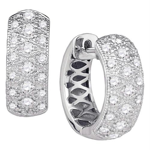 14kt White Gold Womens Round Diamond Huggie Earrings 7/8 Cttw