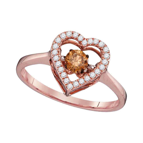 10kt Rose Gold Womens Round Cognac-brown Color Enhanced Diamond Moving Twinkle Solitaire Ring 3/8 Cttw