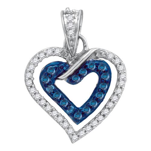10kt White Gold Womens Round Blue Color Enhanced Diamond Heart Love Pendant 1/4 Cttw - 87086