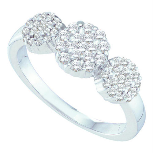 14kt White Gold Womens Round Diamond Triple Flower Cluster Ring 1/2 Cttw
