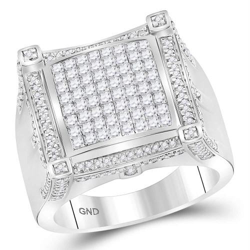 10kt White Gold Mens Princess Diamond Symmetrical Square Cluster Ring 1-7/8 Cttw