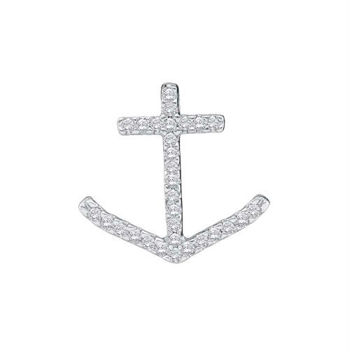 10k White Gold Round Pave-set Diamond Womens Nautical Anchor Pendant 1/4 Cttw
