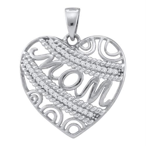 10kt White Gold Womens Round Diamond Mom Mother Filigree Heart Pendant 1/10 Cttw