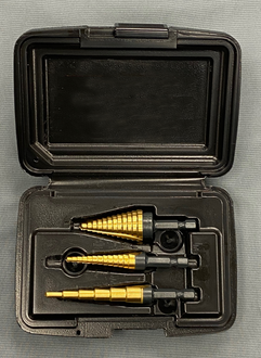 """Norseman 3 pc Set Hex Shank Step Drill Titanium Nitride Coated #68561 """"Made in the USA"""""""