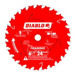 "6-1/2"" - 24 Tooth Tracking Point Carbide Tipped Framing Blade with 5/8"" arbor and Diamond Knockout D0624X"