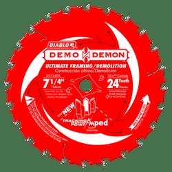 "carbide tipped circular saw blade,7-1/4"" circular blade for wood,framing blade,5/8"" Arbor,diamond knockout,Ultimate,Demo,Demolition"