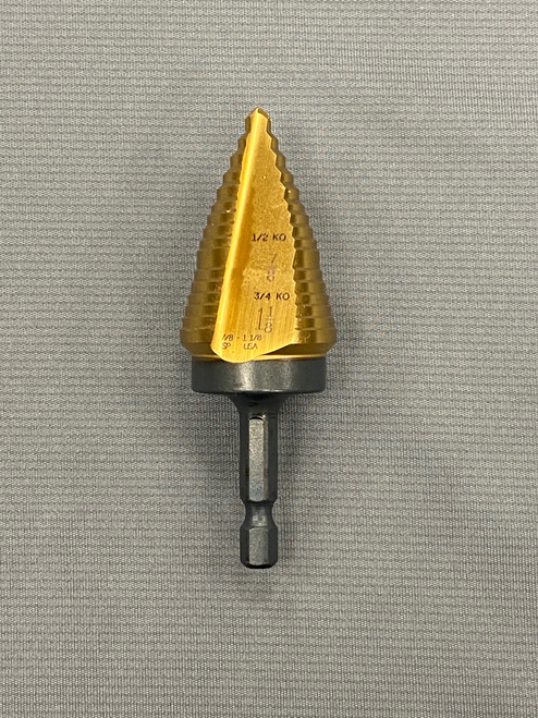 "Norseman 7/8"" - 1 1/8"" Hex Shank Step Drill Titanium Nitride Coated #68531 ""Made in the USA"""