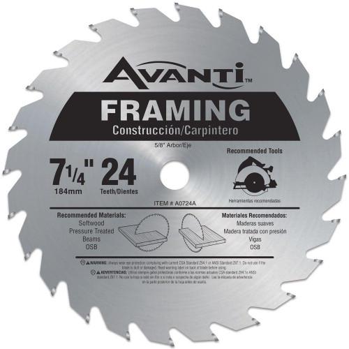 Avanti,carbide tipped circular saw blade,7-1/4 circular blade for wood,framing blade,5/8 arbor