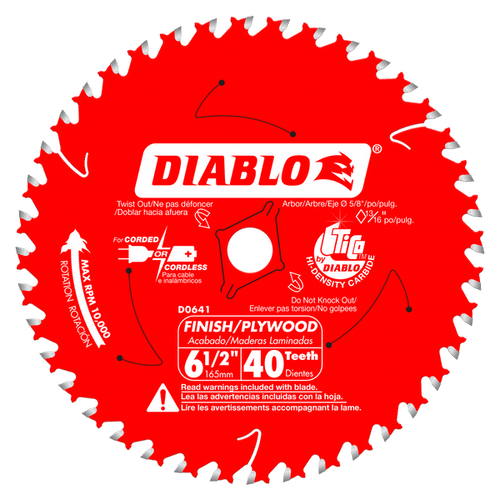 "carbide tipped circular saw blade,6-1/2"" circular blade for wood,finishing blade,5/8"" arbor,Diamond Knockout,plywood blade"