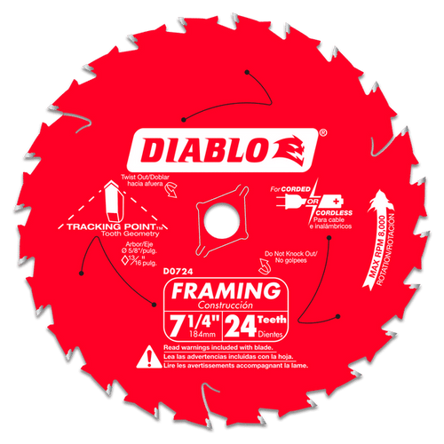 "carbide tipped circular saw blade,7-1/4"" circular blade for wood,framing blade,5/8"" Arbor,diamond knockout"