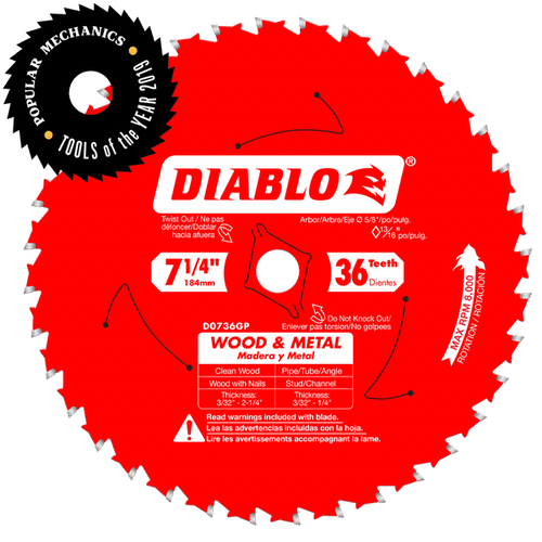 "carbide tipped circular saw blade,7-1/4"" circular blade for wood,Metal blade,5/8"" Arbor,diamond knockout"