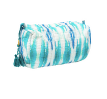 Small Flower Child Teal Quilted Cosmetic Bag