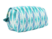 Large Flower Child Teal Quilted Cosmetic Bag