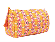 Large Flower Child Marigold Quilted Cosmetic Bag