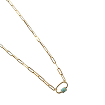 Mini Carabiner Necklace with Pave Turquoise Detail