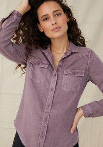 Fitted Flap Pocket Button Down Amethyst