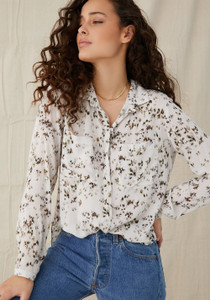 Full Button Down Hipster Shirt Painted Ditsy Floral