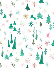 Snowy Trees Christmas Gift Wrap Roll (3 sheets/roll)