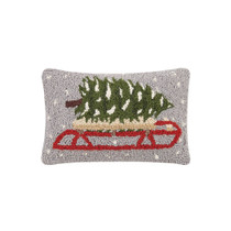 Tree On Sled Hook Pillow