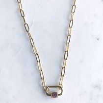 """Mini Carabiner Necklace with Pave Garnet CZ Detail- 16"""""""