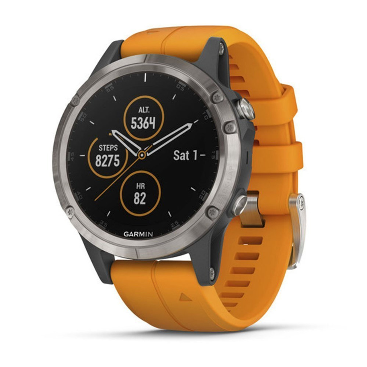 Garmin Fenix 5 Plus, Premium Multisport GPS Smartwatch, Features Color TOPO  Maps, Heart Rate Monitoring, Music and Garmin Pay, Titanium/Orange