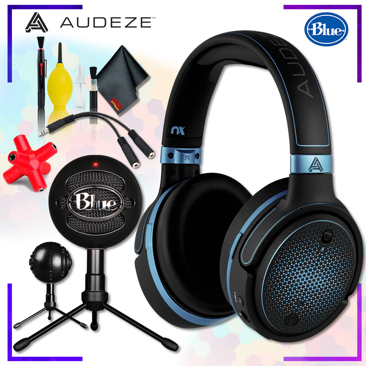 10eb5c9c4ee Audeze Mobius Planar Magnetic Gaming Headset (Blue) + Blue Snowball iCE  Microphone (Black) + Headphone and Knuckel Signal Splitter + Cleaning Kit -  hhgregg